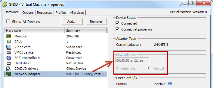 change mac address vmware 7