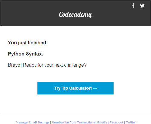 Email progress reports from Codecademy
