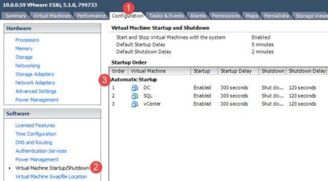 The critical management VM startup order