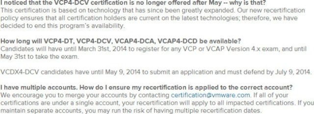 vSphere 4 based exams are retiring soon