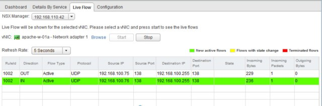Inspecting flows within NSX