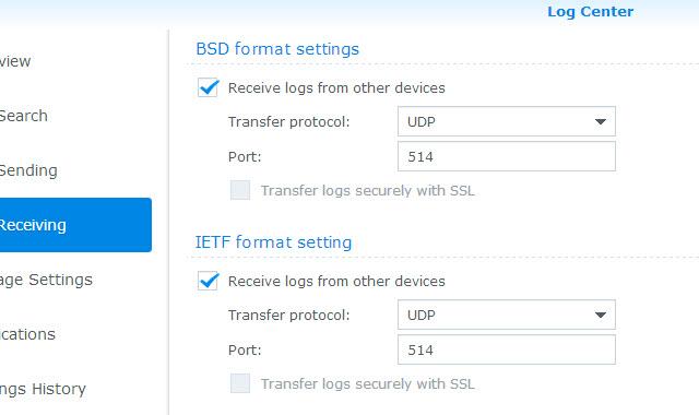 Log Receiving settings