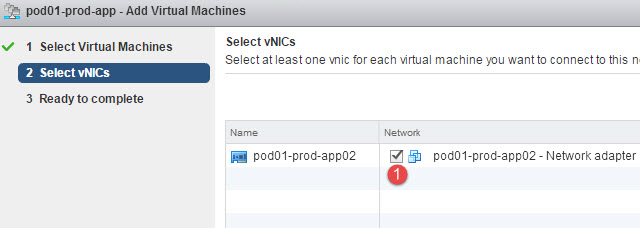 Select the vNIC