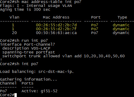 LACP on po7 to an ESXi host