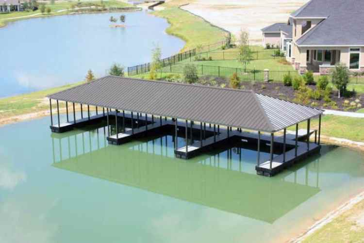 wahoo aluminum docks community floating dock with gable roof and multiple dock slips