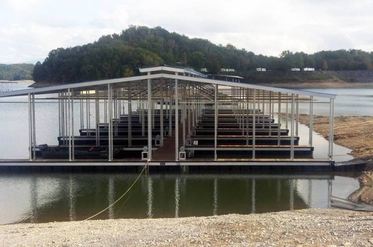 wahoo aluminum docks commercial docks with multiple slips ipe walkways and double gable roof