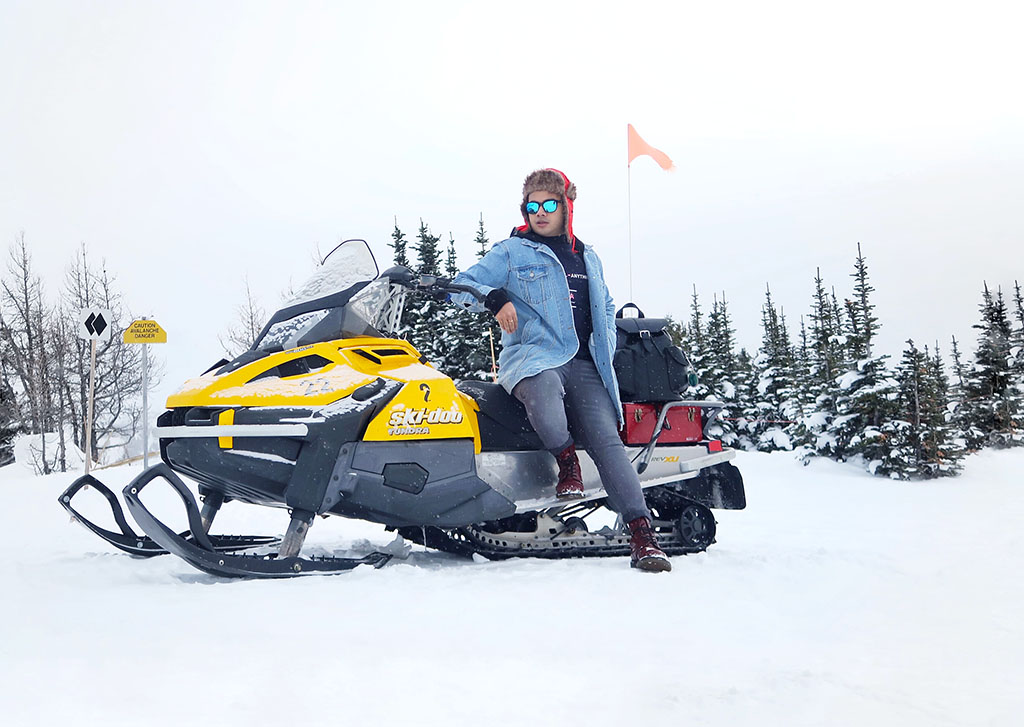 Canadian Travel Blogger Jonathan Waiching Ho_Visit Lake Louise_What To See in Banff_Explore Canada_Style Influencer Canada_Luxury Blogger_Snowmobiling in Canada Lake Louise