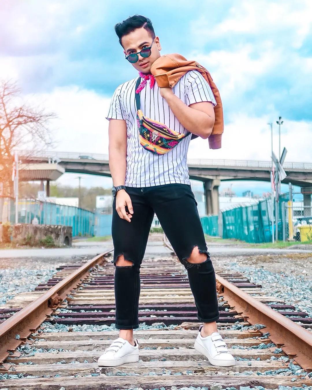 Jonathan Waiching Ho Travel Blogger Influencer Summer fashion men Canada Social Media Influencer Biker jacket denims Toronto Influencer Fashion Canada Blogs