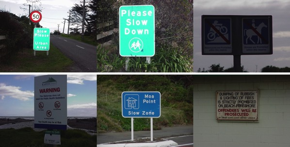 Slow down signs.