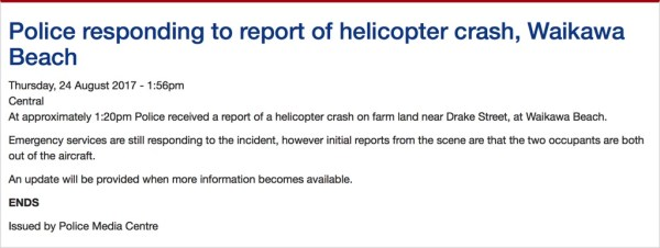 Police respond to report of helicopter crash.