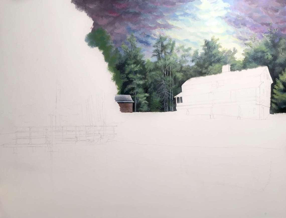 Cabin Painting in Progress - Rebecca Magar