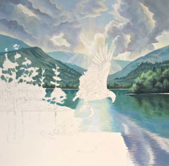 Painting of eagle Catching Fish for the Ooo Album Cover by Rebecca Magar