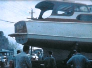 WHITE CLOUD ARRIVING FODENWAY MOTORS GT SOUTH RD PENROSE -NO PROP OR RUDDER JUNE 1965