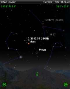 La posizione della cometa ISON. Foto di Damian Peach