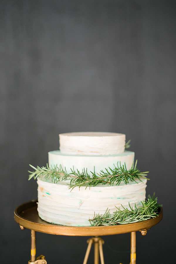 Rosemary wedding cake by Sugar & Slate. Rustic White Photography
