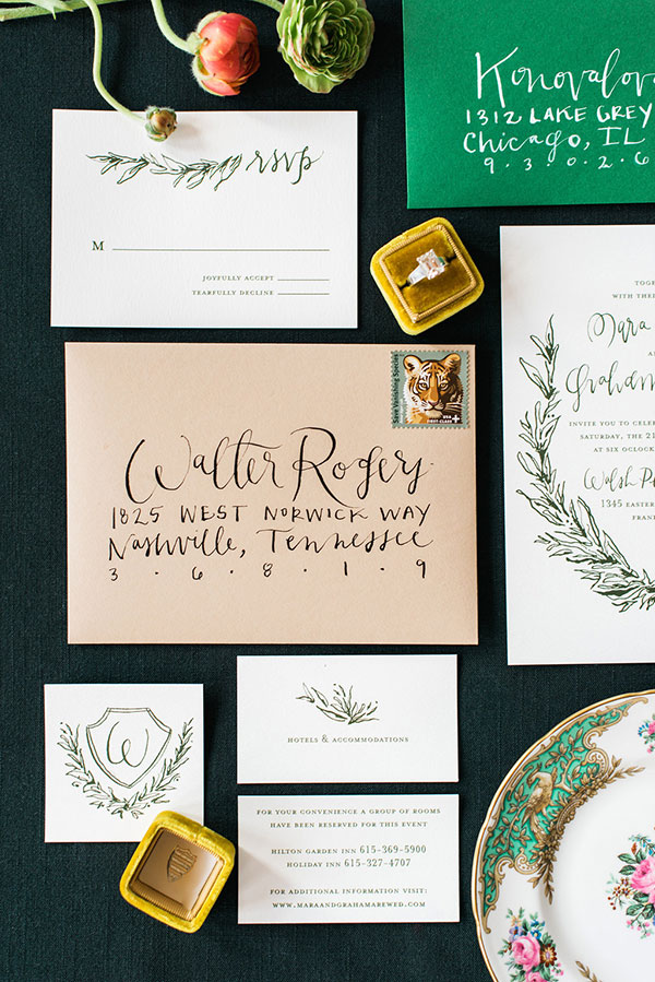 Handlettered wedding invitation by Marked for The Celebration Society. Rustic White Photography
