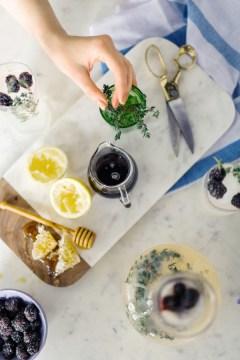 Honey Thyme Lemonade with Sugared Blackberries, Waiting On Martha