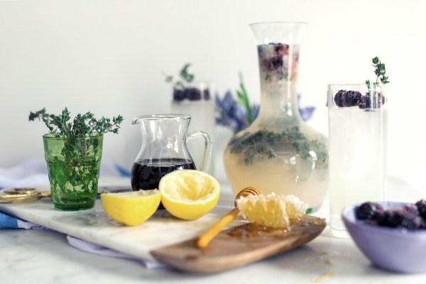 Honey Thyme Lemonade with Sugared Blackberries