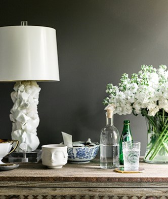 Statement lamp and bedside essentials