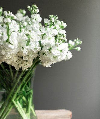 White flowers bedside