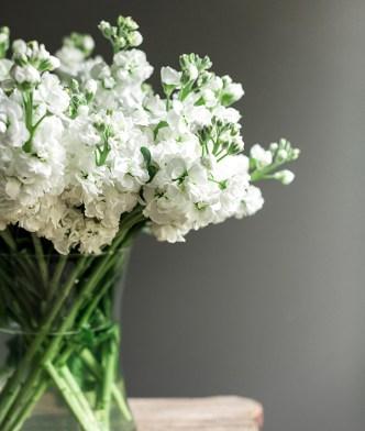 White flowers bedside