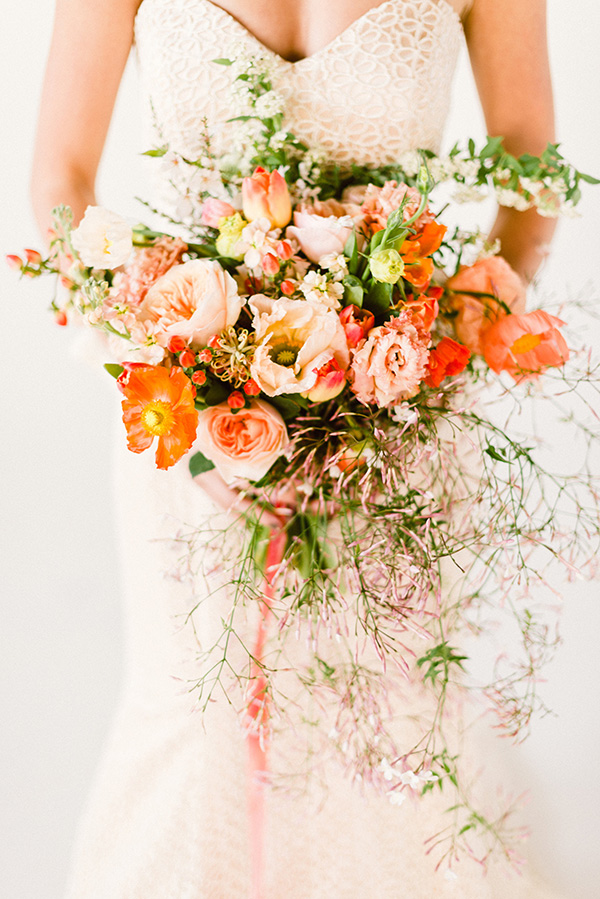 Peach and pink bridal bouquet by Lindsay Coletta Designs, Waiting on Martha