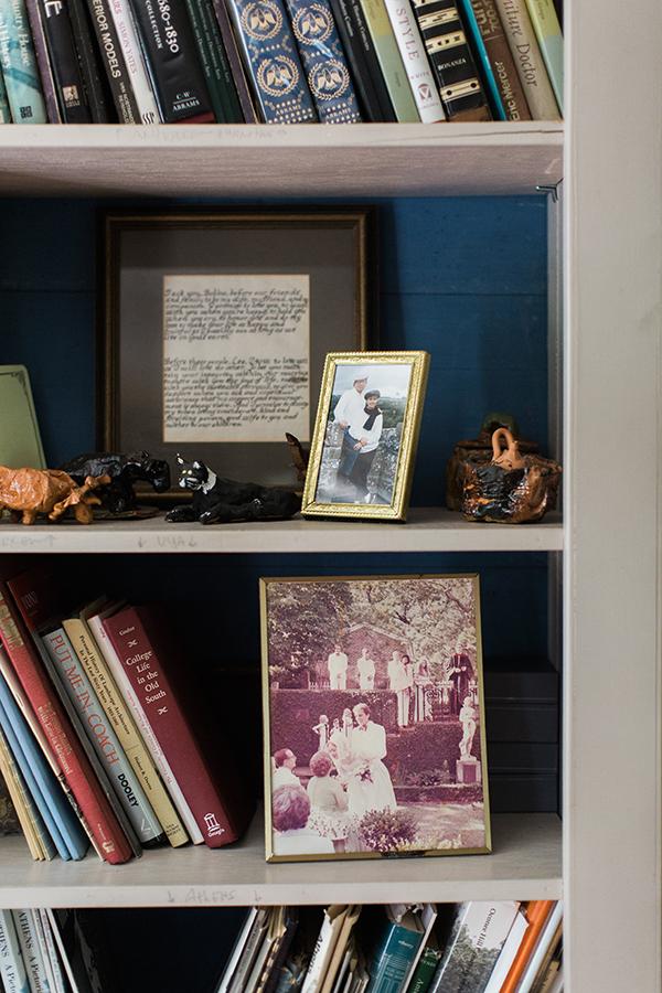 Vintage details on the bookshelf, Waiting on Martha