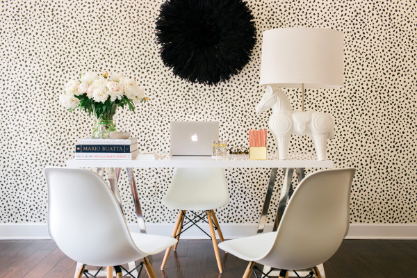A White & Black office with the World Market Mix and Match Desk, Waiting On Martha