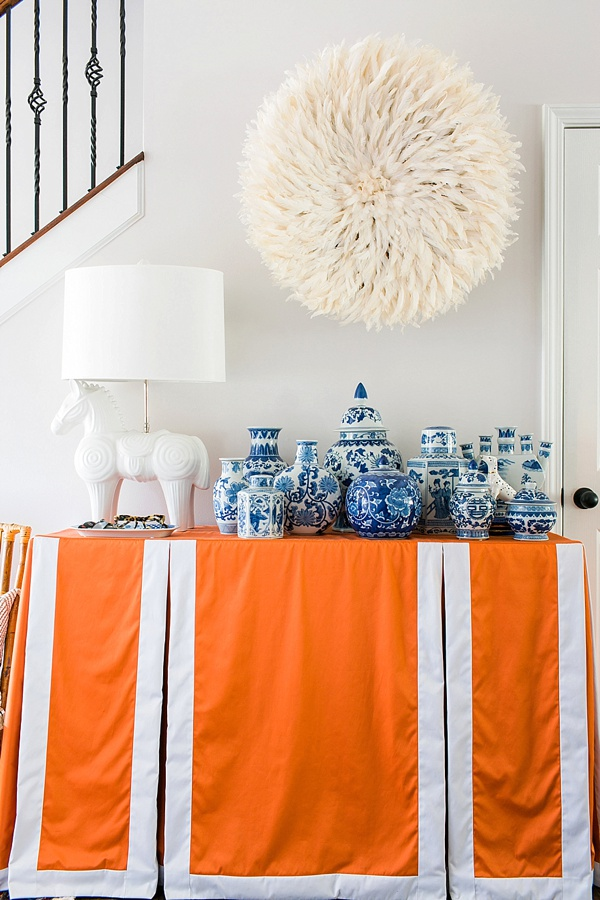 Ginger jars and juju hat in the entryway | Waiting on Martha