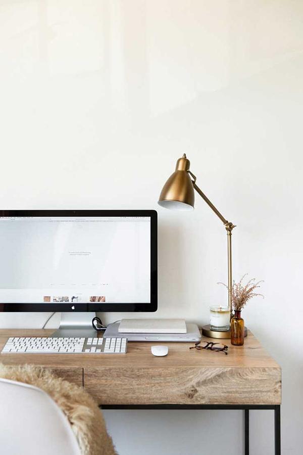 Minimalist desk decor via Waiting on Martha