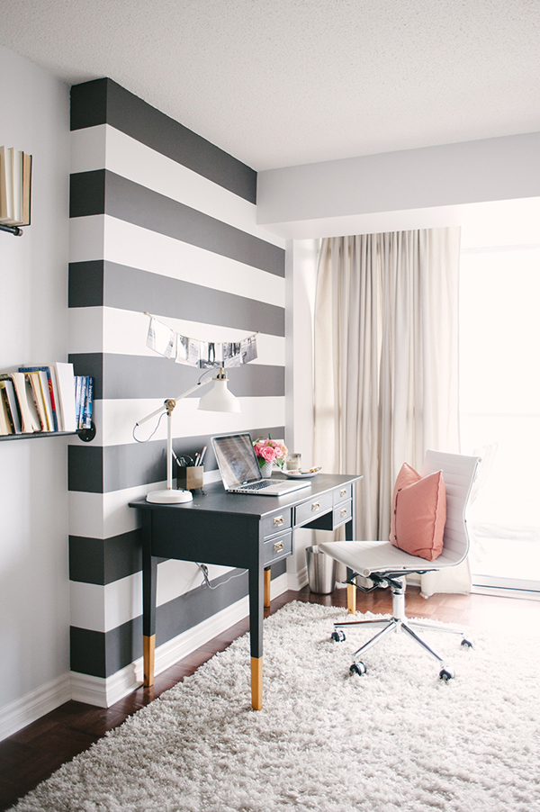 Black and white stripe wall with chic home office via Waiting on Martha