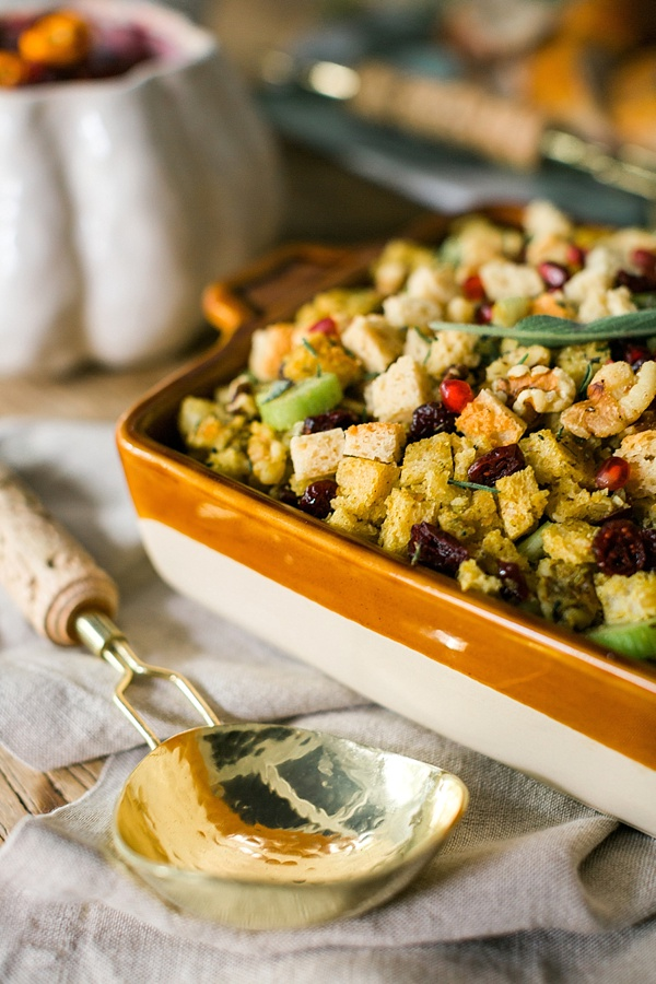Thanksgiving stuffing with cranberries and pom seeds