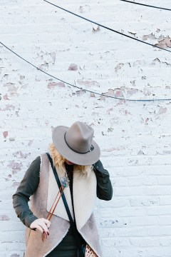 Shearling vest with wool hat #ootd