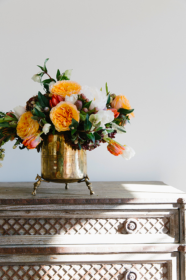 Peonies in a wintery floral arrangement via Waiting on Martha