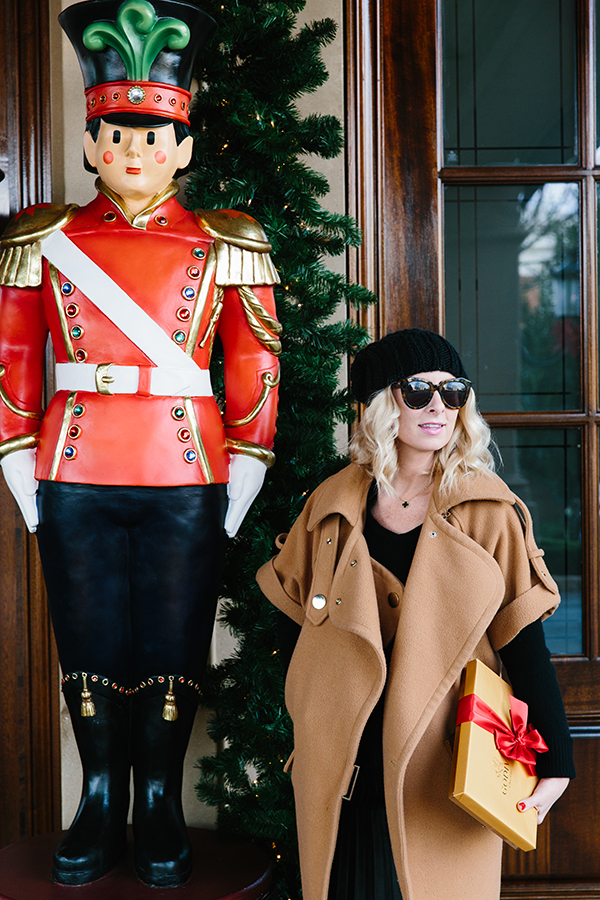 Holiday nutcracker and camel coat via Waiting on Martha