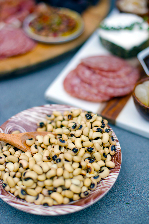 New Year's Black Eyed Peas and Cheese + Charcuterie Board
