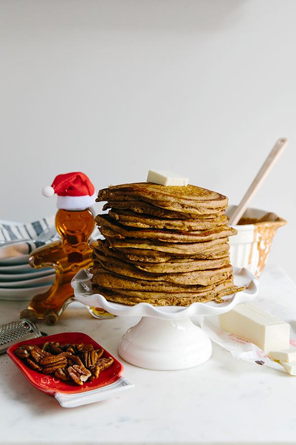 Gingerbread pancakes recipe via Waiting on Martha