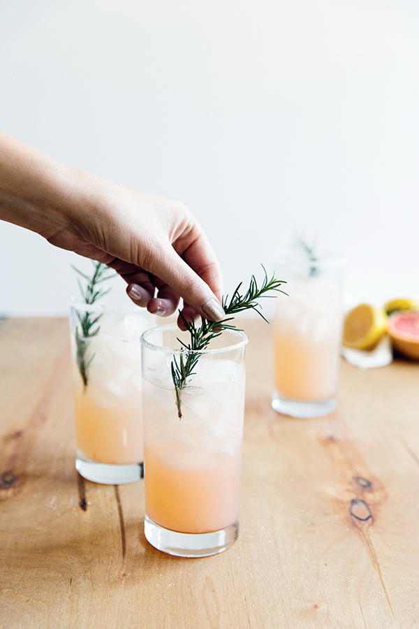 Grapefruit cocktail with rosemary