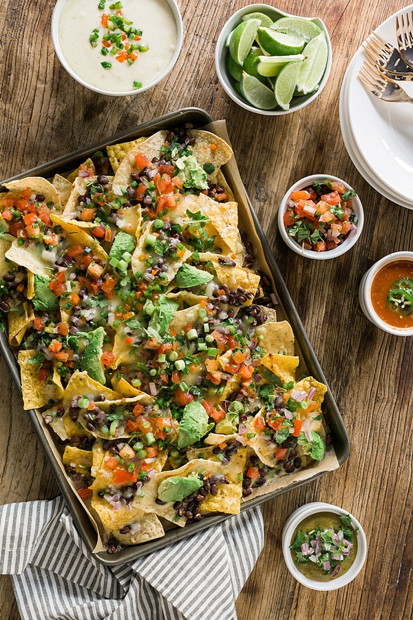 Layered nachos with queso recipe via Waiting on Martha