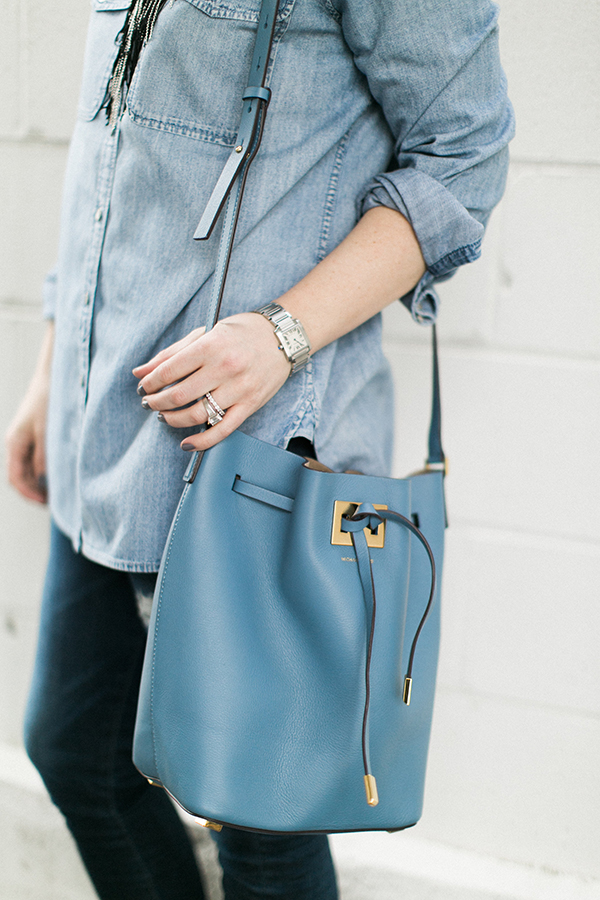 Styling an all denim outfit via Waiting on Martha