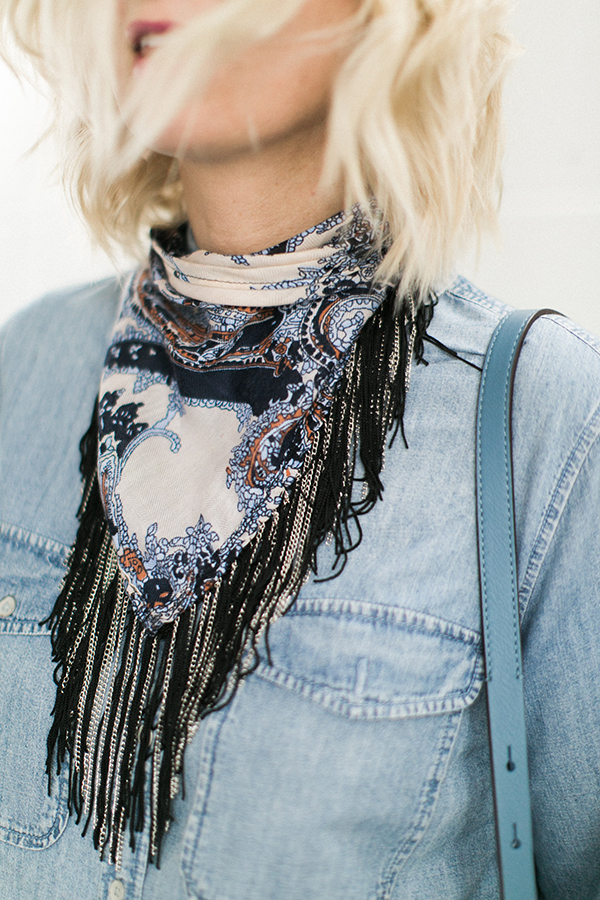 Chained bandana with chambray shirt | Waiting on Martha
