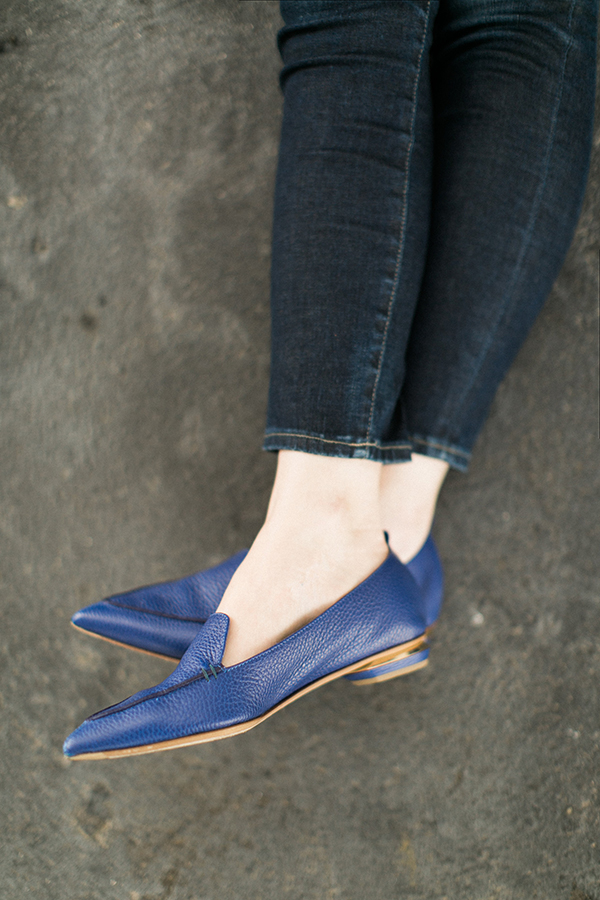Blue pointy toe flats