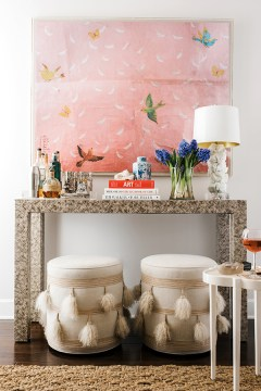 Home Bar Setup with console table and stools by @waitingonmartha