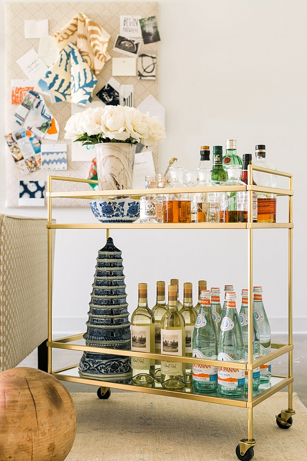 Gold bar cart styling ideas