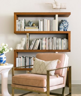 Bookshelf styling idea and office inspiration via Waiting on Martha in the One Room Challenge 2016