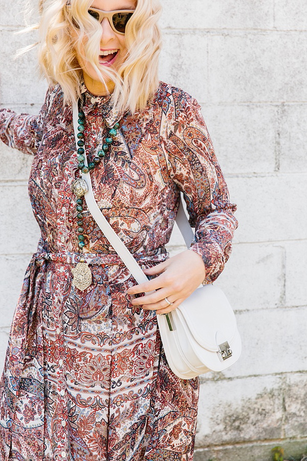 Boho dress with necklace and cross body purse on Waiting on Martha