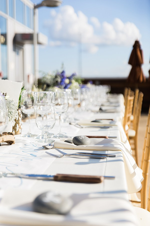 Coastal tablescape with stone place cards