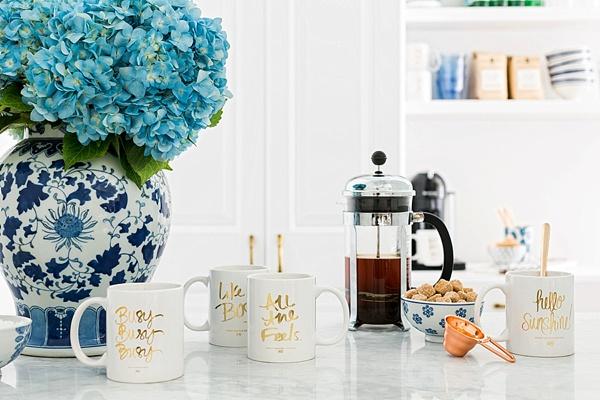 Waiting on Martha's office coffee bar with Ashley Brooke Designs mugs