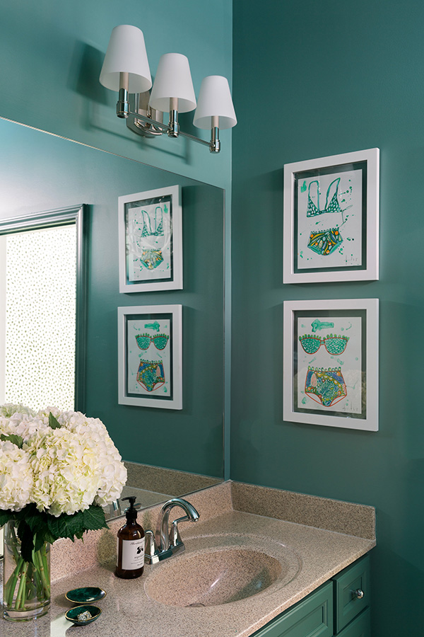 Green bathroom inspiration with Dorothy Shain bikini artwork | @waitingonmartha @behrpaint #spon #behrpaint #greenbathroom #bathroom