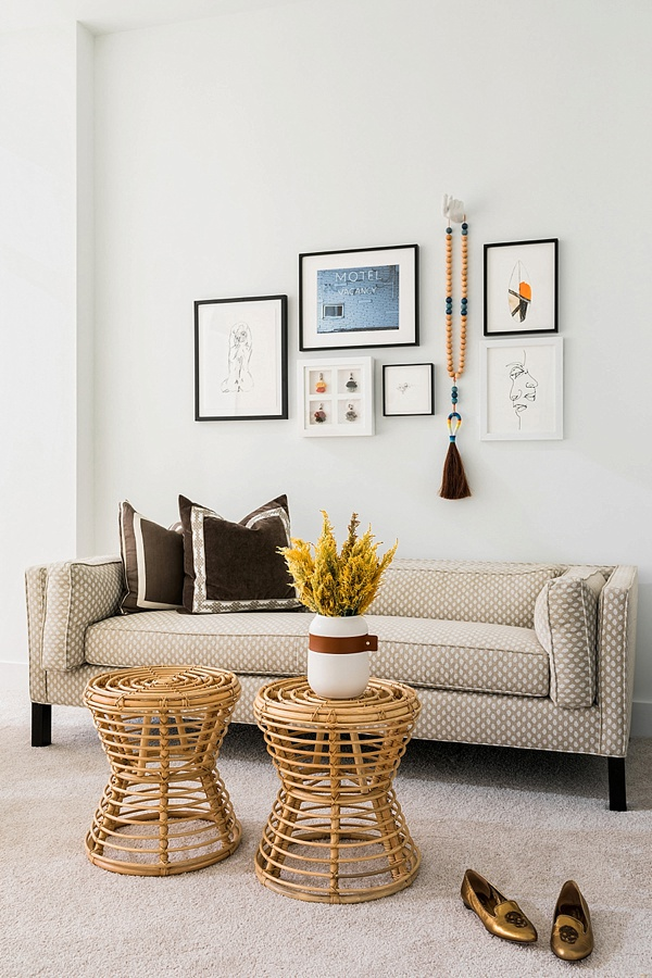 Gallery wall ideas and bamboo stools with setee, @waitingonmartha